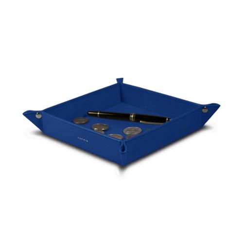 Vide poche moyen carré (21 x 21 x 3,5 cm) - Bleu Roi - Cuir Lisse