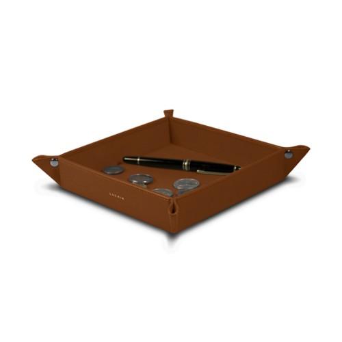 Vide poche moyen carré (21 x 21 x 3,5 cm) - Cognac - Cuir Lisse