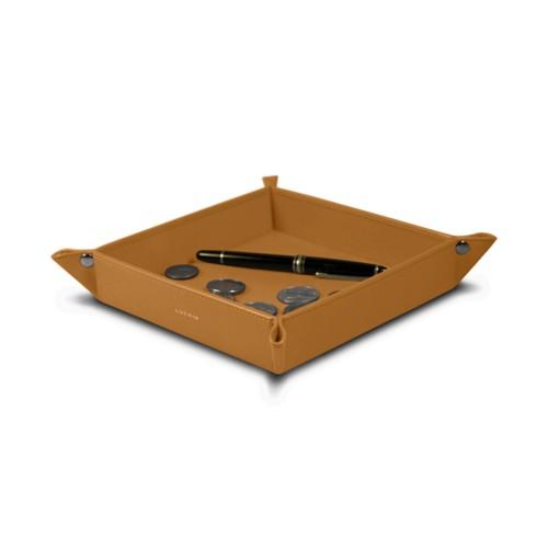 Vide poche moyen carré (21 x 21 x 3,5 cm) - Naturel - Cuir Lisse