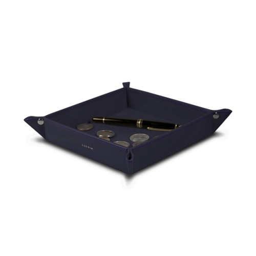 Square tidy tray (7.09 x 7.09 x 1.38 inches) - Purple - Smooth Leather