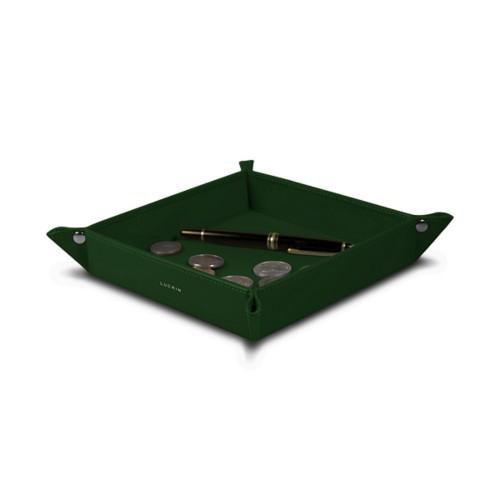 Vide poche moyen carré (21 x 21 x 3,5 cm) - Vert Foncé - Cuir Lisse