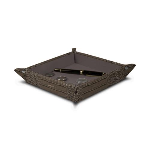 "Square tidy tray (8.27 x 8.27 x 1.38)"" - Light Taupe - Crocodile style calfskin"