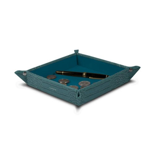 """Square tidy tray (8.27 x 8.27 x 1.38)"""" - Turquoise - Crocodile style calfskin"""