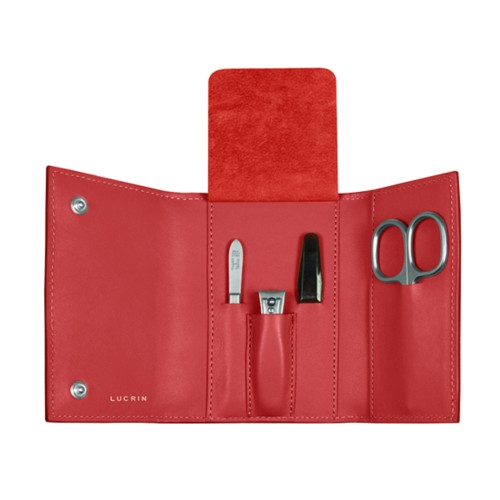 Manicure set - Red - Smooth Leather