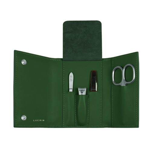 Manicure set - Dark Green - Smooth Leather
