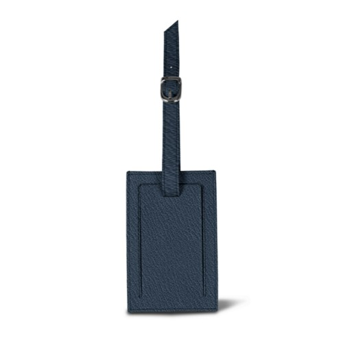 Rectangular bag tag - Navy Blue - Goat Leather