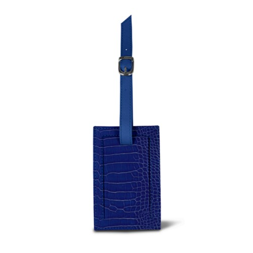 Bag Tag - Royal Blue - Crocodile style calfskin