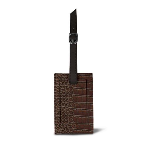 Rectangular bag tag - Dark Brown - Crocodile style calfskin