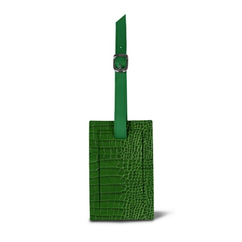 Bag Tag - Light Green - Crocodile style calfskin