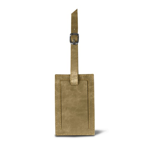 Rectangular bag tag - Golden - Metallic Leather