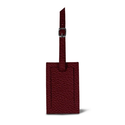Luggage tag - Burgundy - Granulated Leather