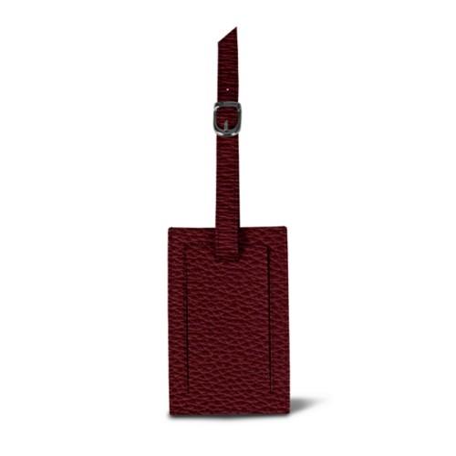 Rectangular bag tag - Burgundy - Granulated Leather