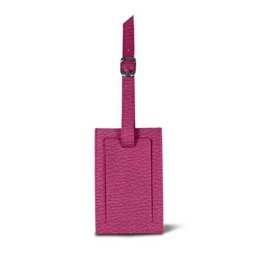 Luggage tag - Fuchsia  - Granulated Leather