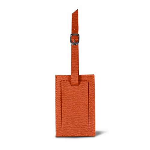 Luggage tag - Orange - Granulated Leather