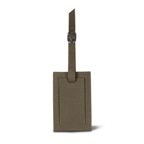 Bag Tag - Dark Taupe - Granulated Leather