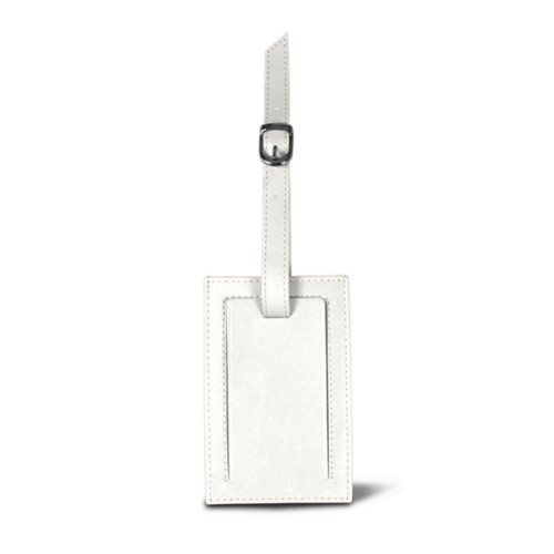 Rectangular bag tag - White - Smooth Leather