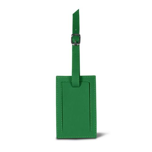 Rectangular bag tag - Light Green - Smooth Leather