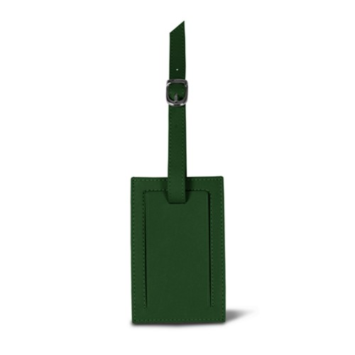 Rectangular bag tag - Dark Green - Smooth Leather