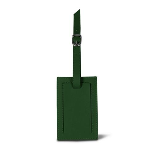 Rectangular bag tag - Dark Green - Smooth Leather
