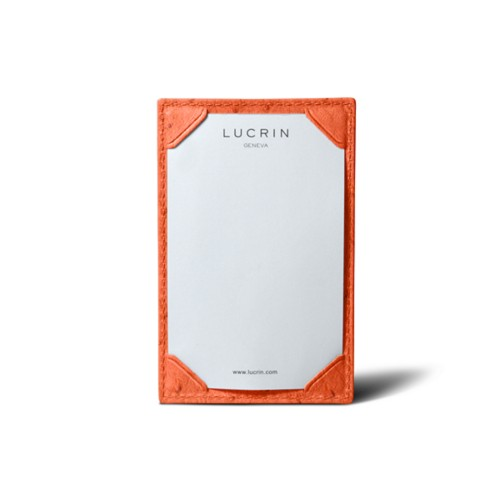 Small writing pad (11 x 7 cm) - Orange - Real Ostrich Leather