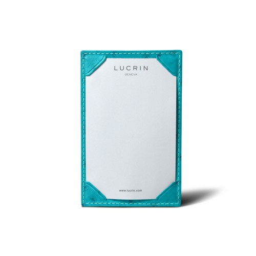 Small Writing Pad (11 x 7 cm) - Turquoise - Real Ostrich Leather