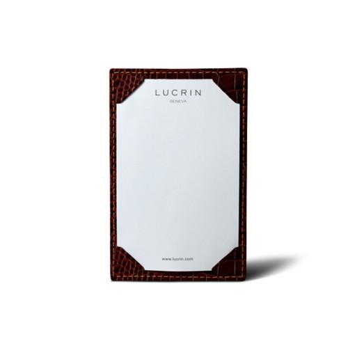 Small writing pad (11 x 7 cm) - Tan - Crocodile style calfskin