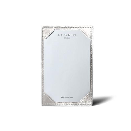 Small writing pad (11 x 7 cm) - Silver - Metallic Leather