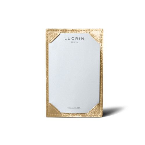 Small Writing Pad (4.3 x 2.8 inches) - Golden - Metallic Leather