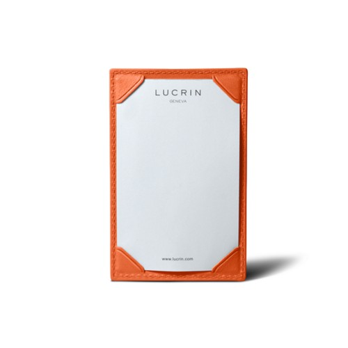 Small writing pad (11 x 7 cm) - Orange - Smooth Leather