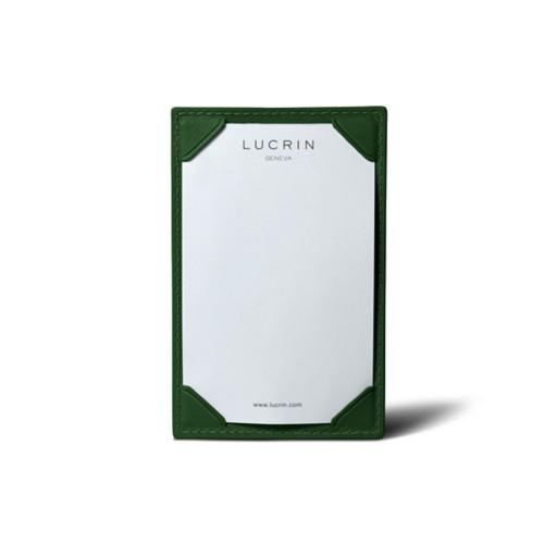 Small Writing Pad (11 x 7 cm) - Dark Green - Smooth Leather