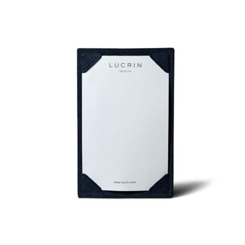 Blocchetto per appunti tascabile (11 x 7 cm) - Blu Navy - Pelle conciata al vegetale
