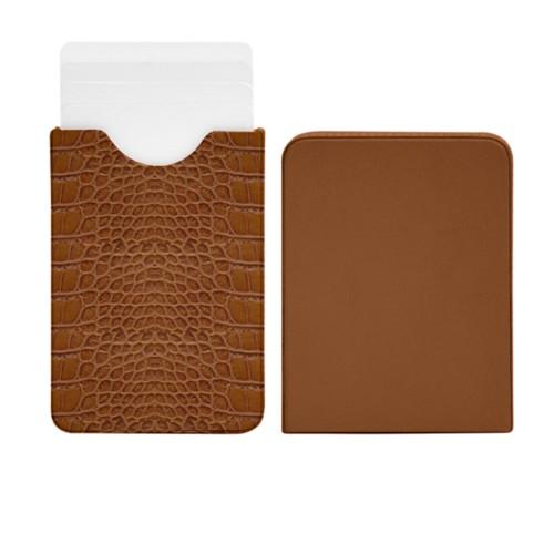 Estuche para tarjetas de visita con dos partes deslizantes - Camel - Piel Coco Grabado