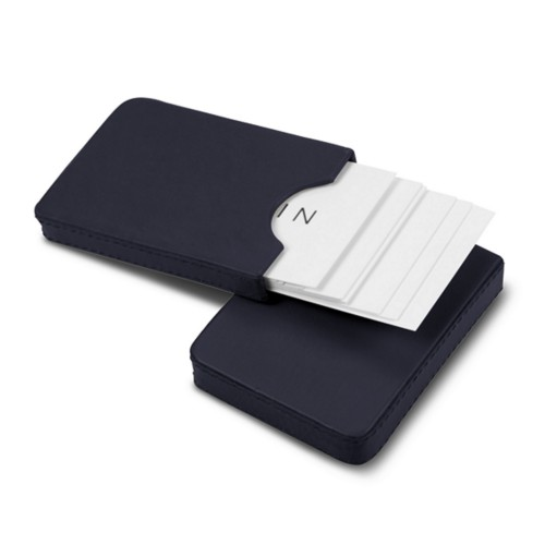 Sliding case for business cards - Navy Blue - Smooth Leather