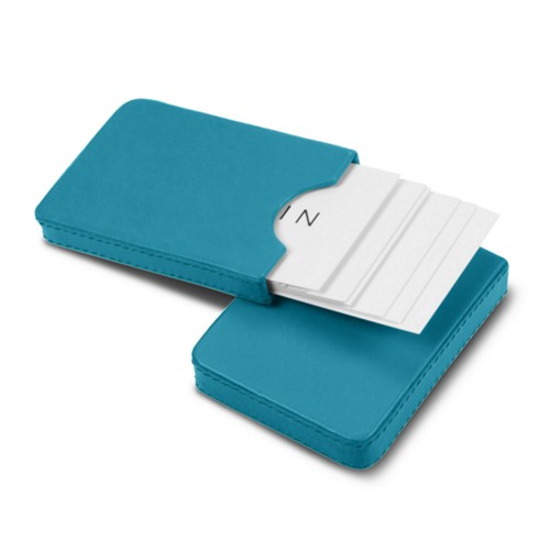 Sliding case for business cards - Turquoise - Smooth Leather