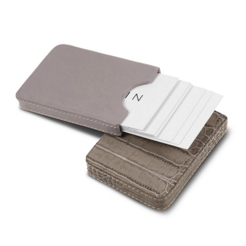 Sliding case for business cards - Light Taupe - Crocodile style calfskin