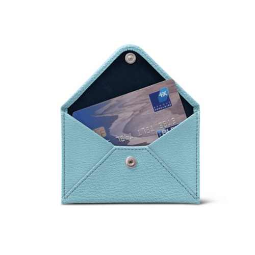 Flat card holder - Sky Blue - Goat Leather