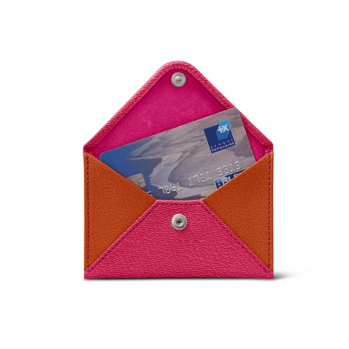 Flat card holder - Fuchsia-Orange - Goat Leather