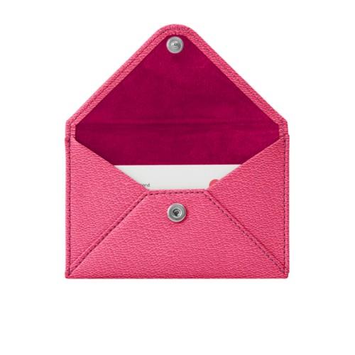 Pequeña cartera plana para tarjetas - Fuchsia-Naranja - Piel de Cabra