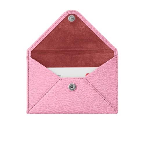 Pequeña cartera plana para tarjetas - Rosa-Marrón topo - Piel de Cabra