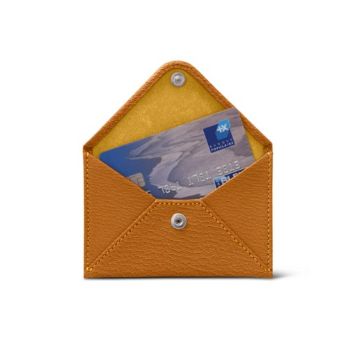 Flat card holder - Saffron - Goat Leather