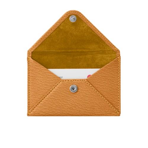 Pequeña cartera plana para tarjetas - azafrán amarillo - Piel de Cabra
