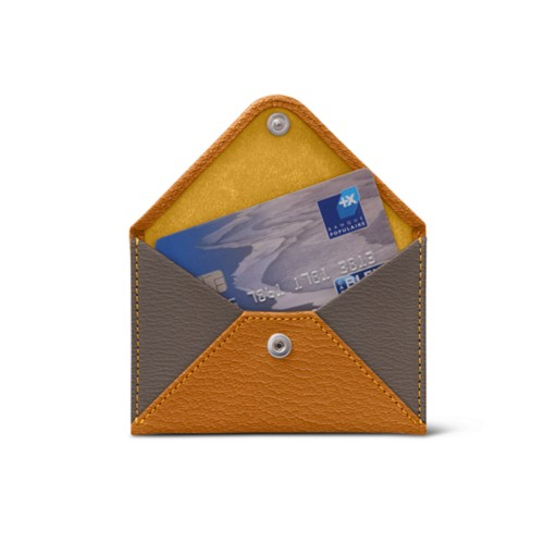 Flat card holder - Saffron-Dark Taupe - Goat Leather