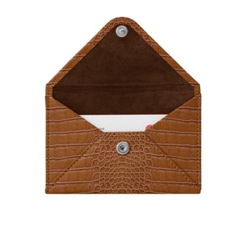 Pequeña cartera plana para tarjetas - Camel - Piel Coco Grabado