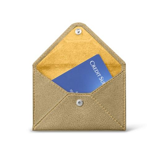 フラットカードホルダー - Golden - Metallic Leather