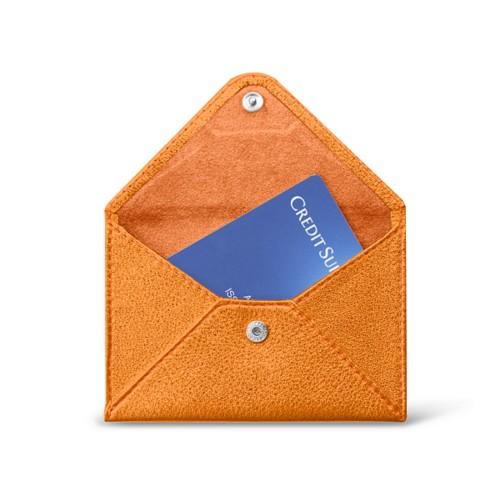 フラットカードホルダー - Orange - Metallic Leather