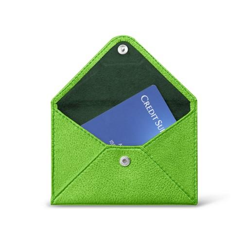 フラットカードホルダー - Light Green - Metallic Leather