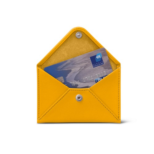 Flat card holder - Sun Yellow - Smooth Leather