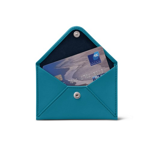 Pequeña cartera plana para tarjetas - Azul turqués - Piel Liso