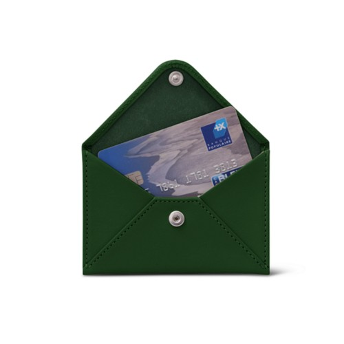 Flat card holder - Dark Green - Smooth Leather