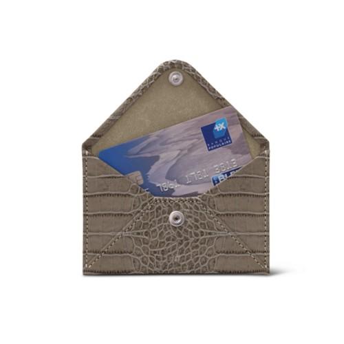 Flat card holder - Light Taupe - Crocodile style calfskin